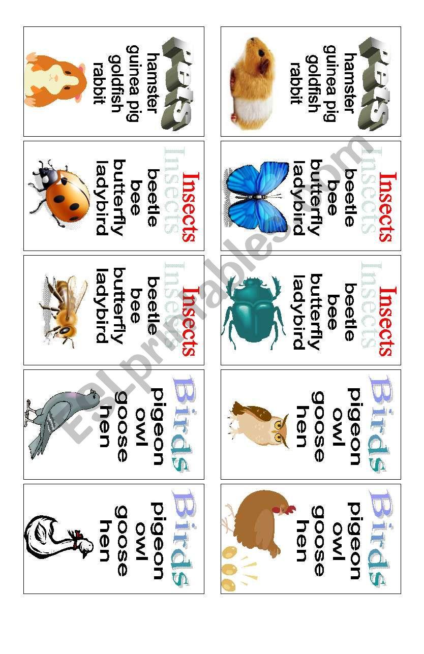 Animals - card game (2 of 3) worksheet