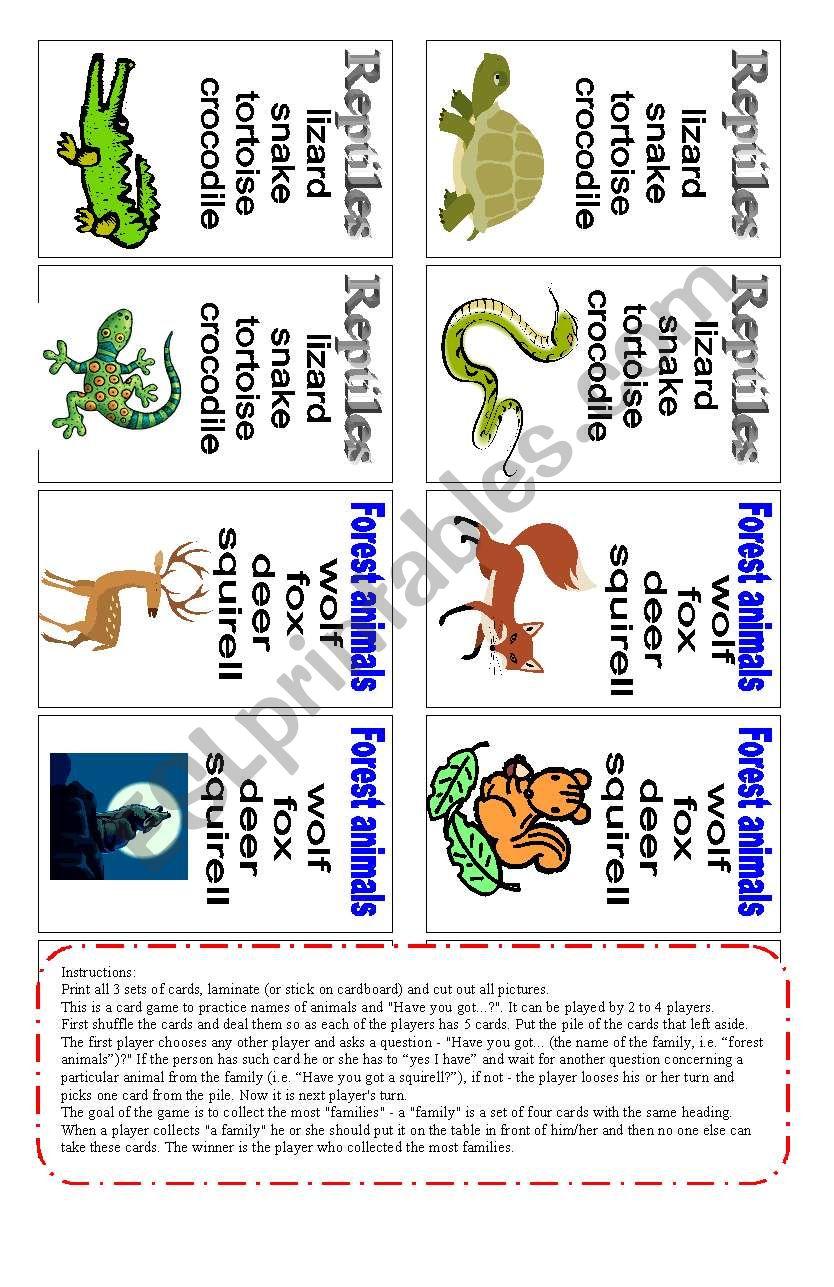 Animals - card game (3 of 3) worksheet