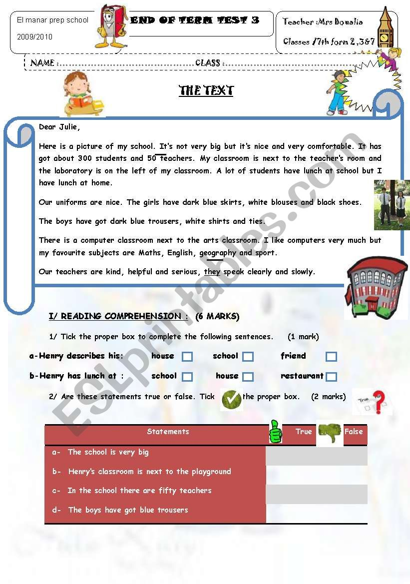 End of Term Test 3 7th Form worksheet