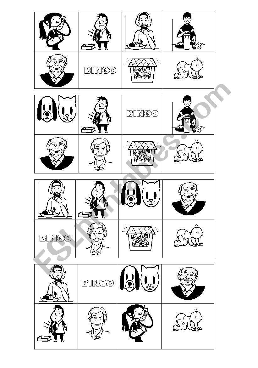 Bingo about Family  worksheet