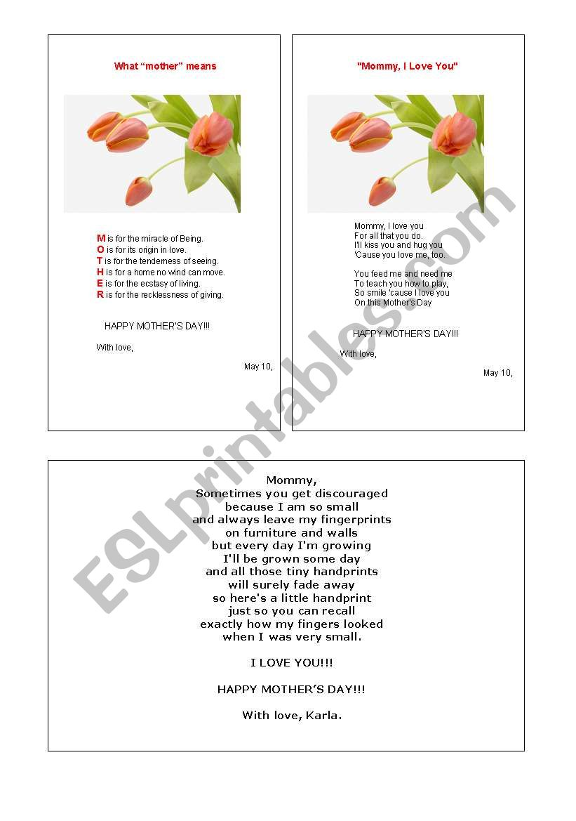 MOTHER´S DAY CARDS worksheet