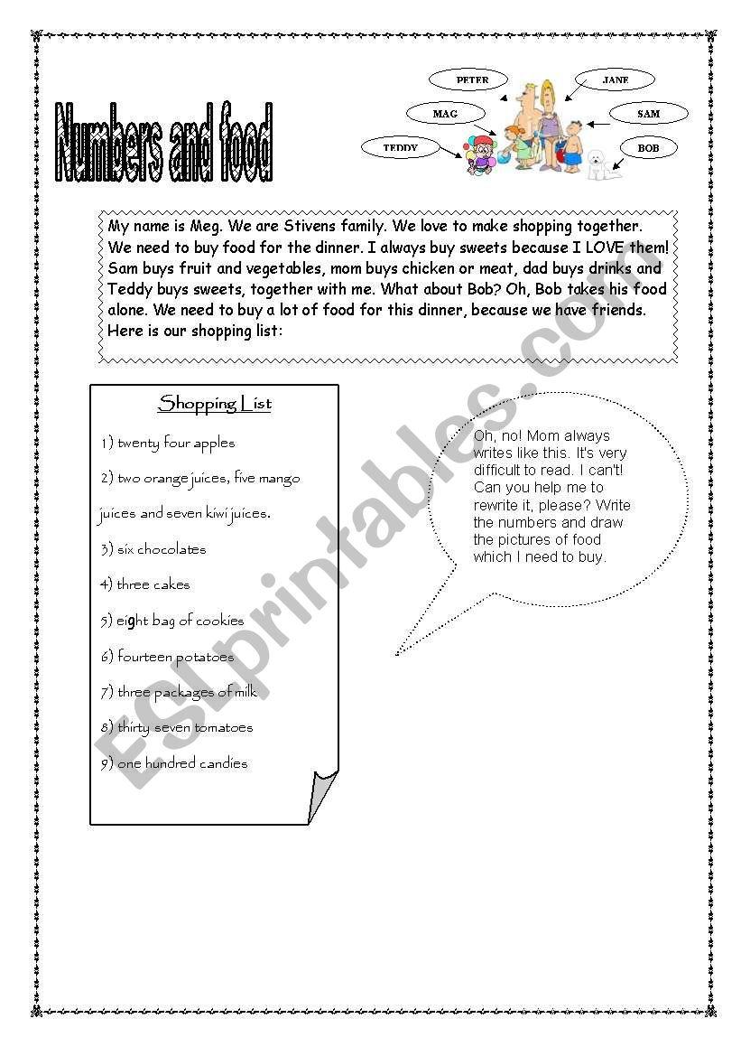 numbers and food page 1 worksheet