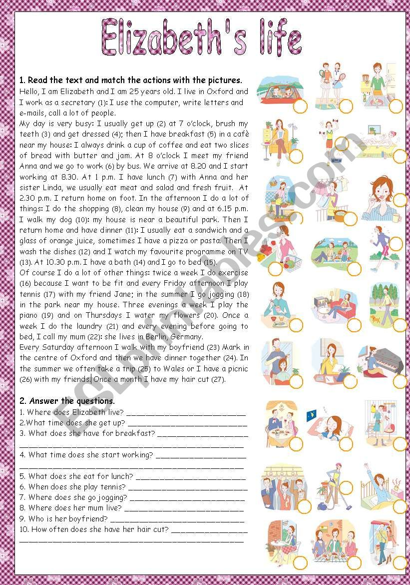 ELIZABETH´S LIFE - READING worksheet