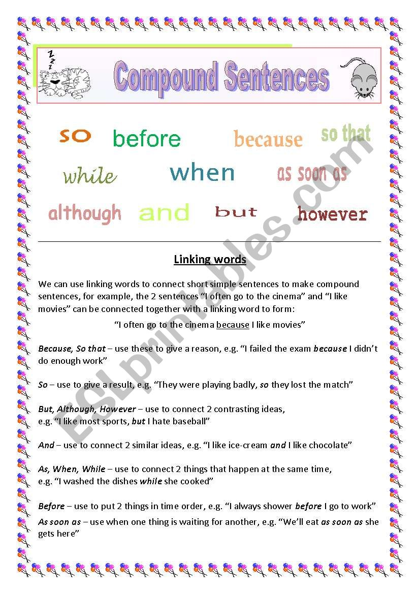 Common linking words used to make compound sentences