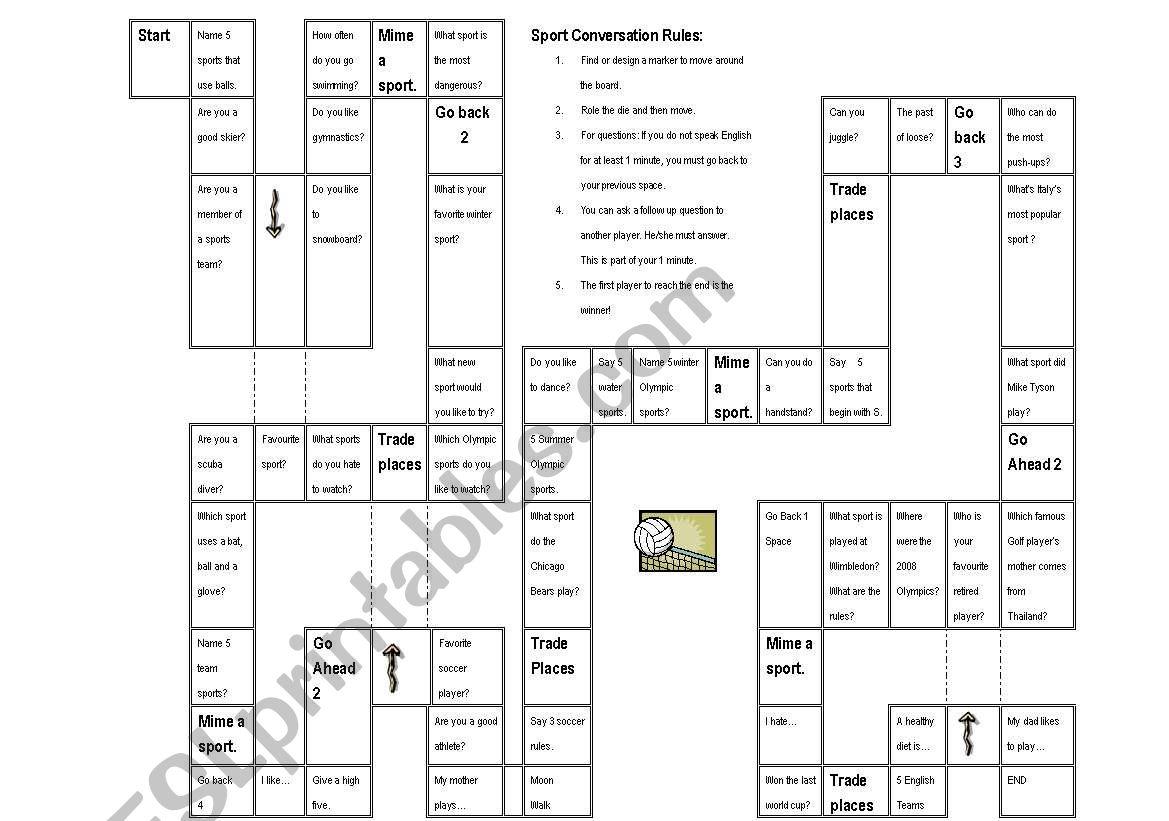 Sports Conversation Board game - ESL worksheet by TheatreAmoeba