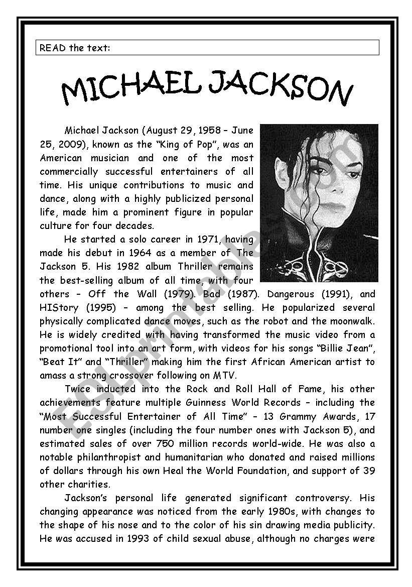 MICHAEL JACKSON´S LIFE worksheet