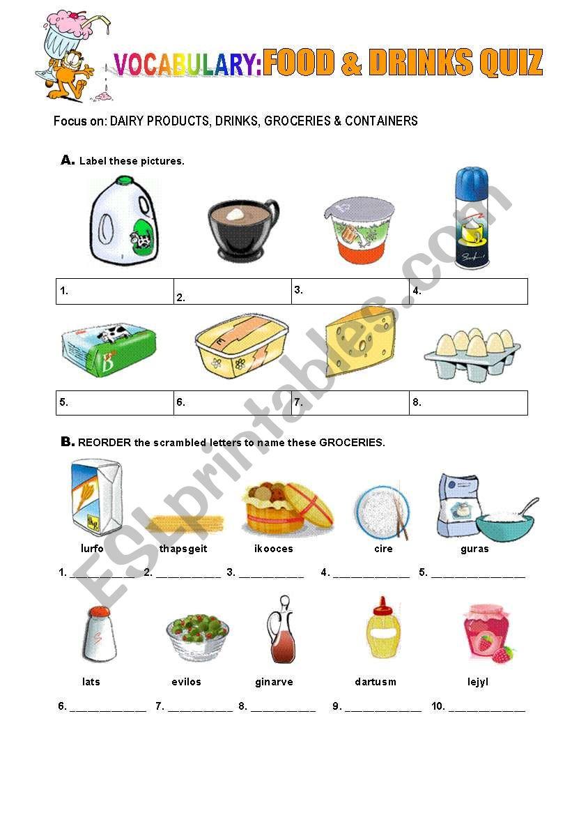 quiz drinks worksheet worksheets