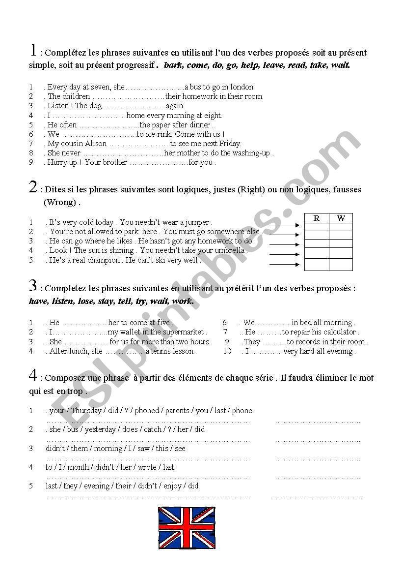 Entry test worksheet