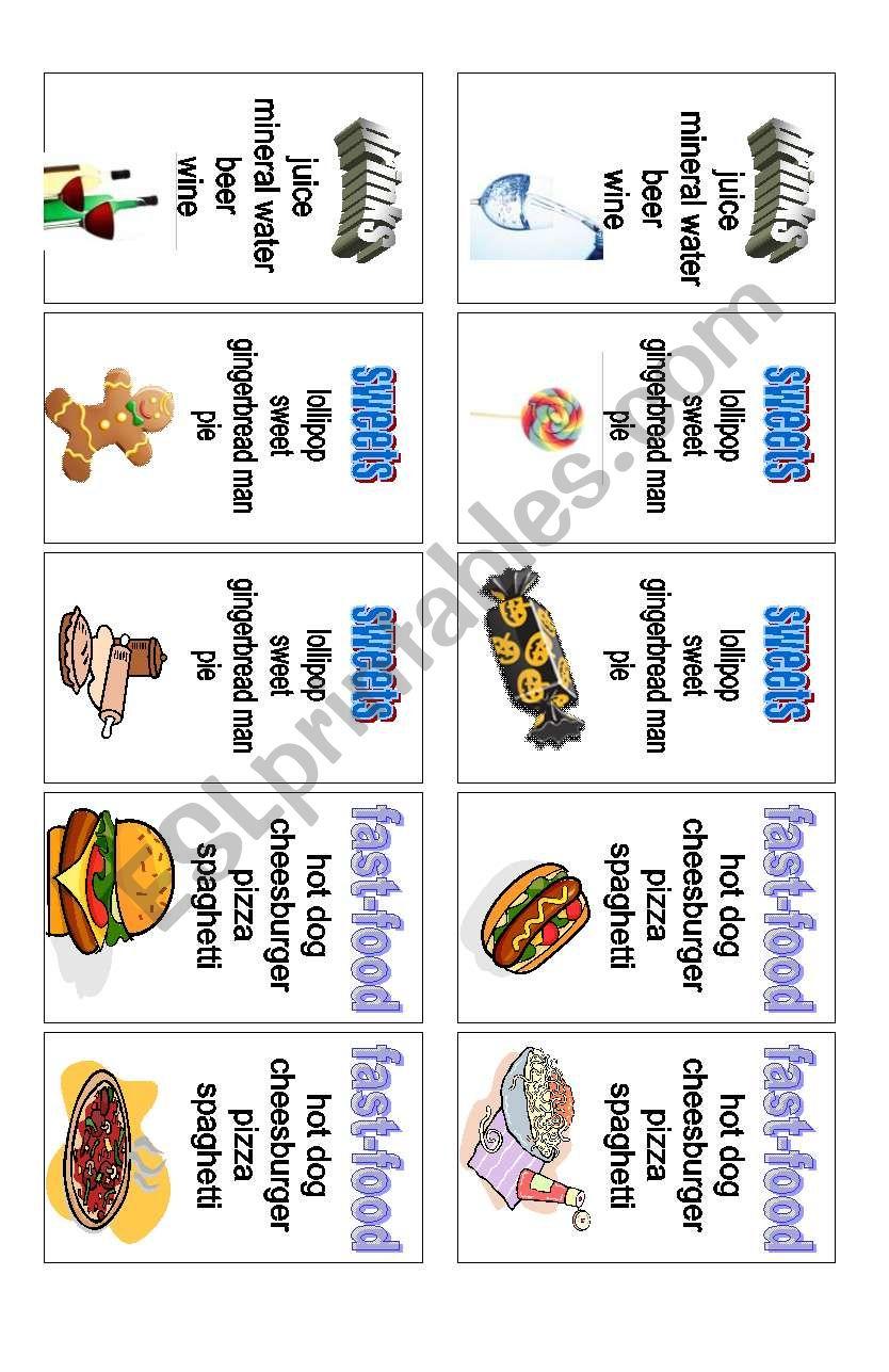 Food - card game (2 of 3) worksheet