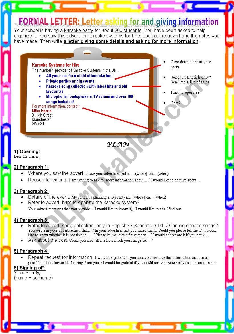 Formal letter: Asking for and giving information - ESL worksheet by