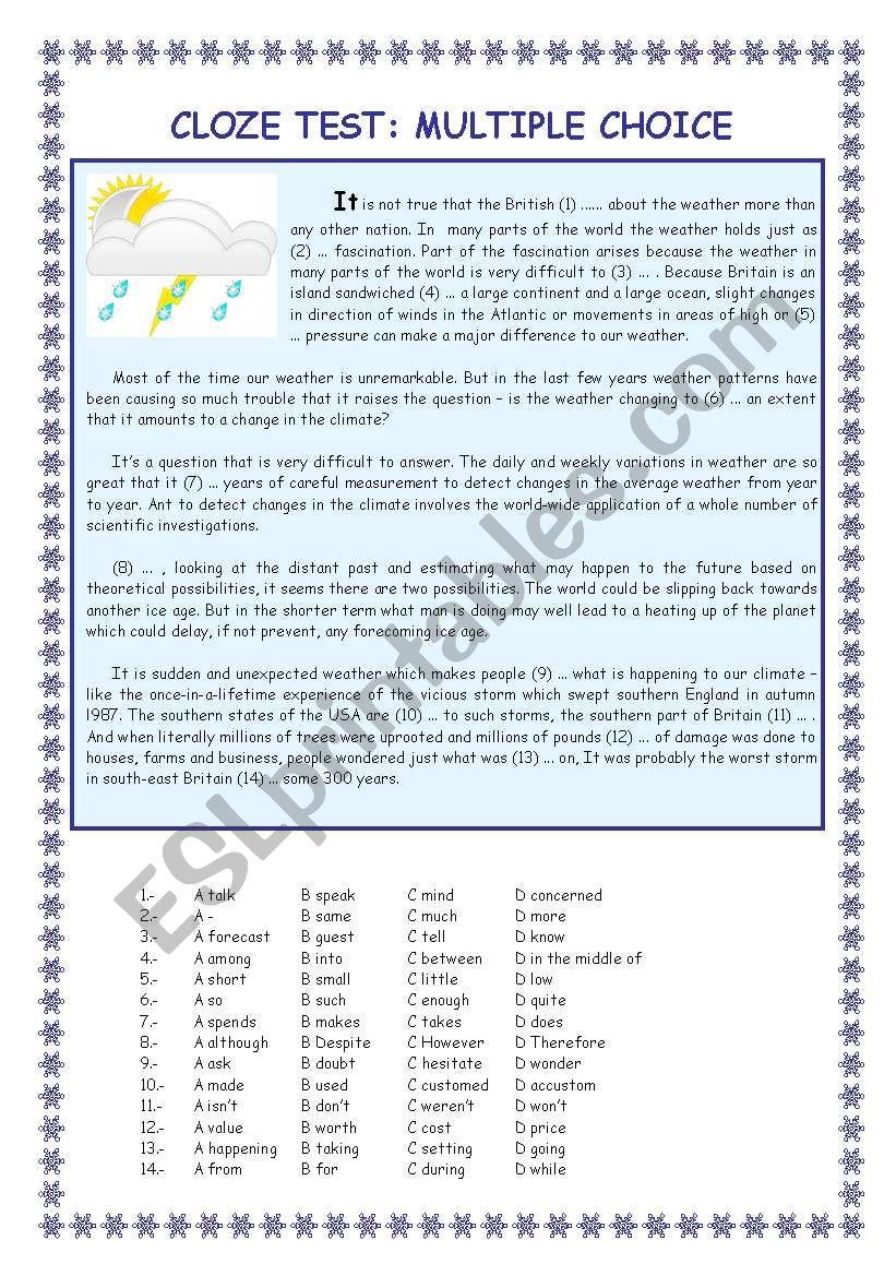 Use of English: multiple choice cloze test