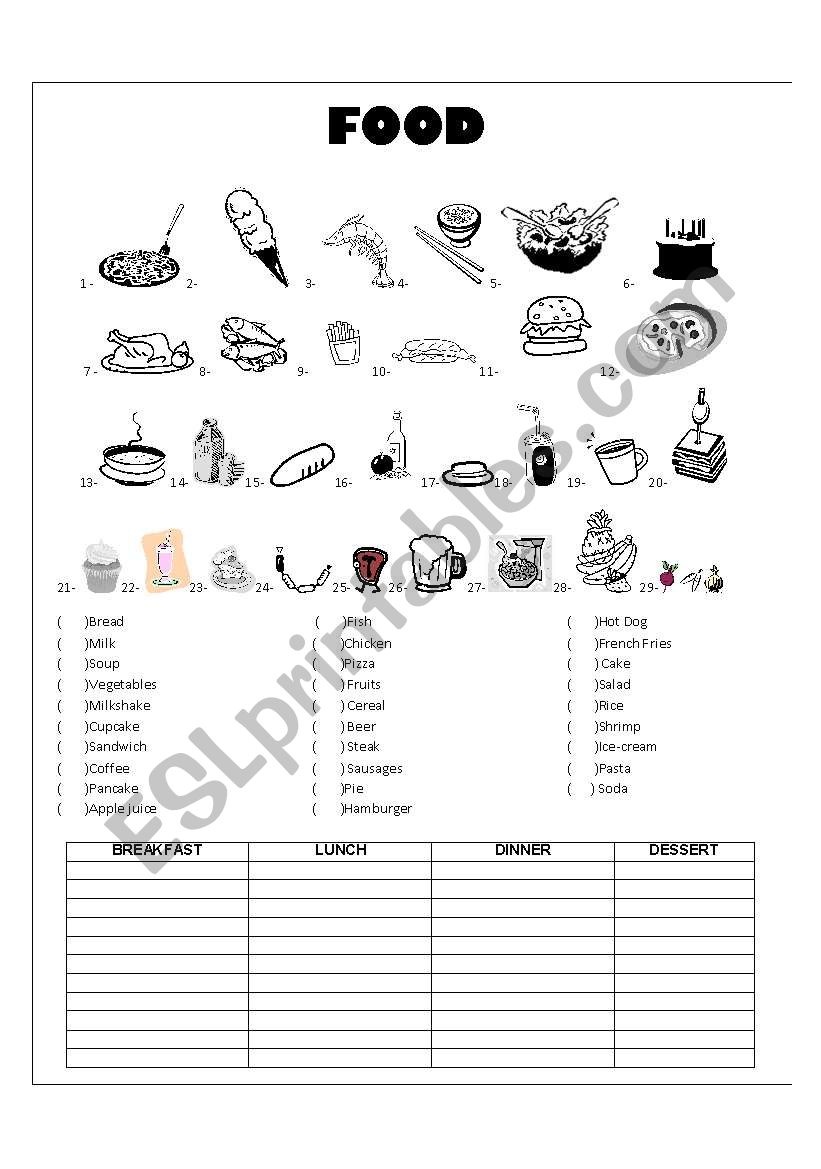 Food Vocabulary - ESL worksheet by teacherfer