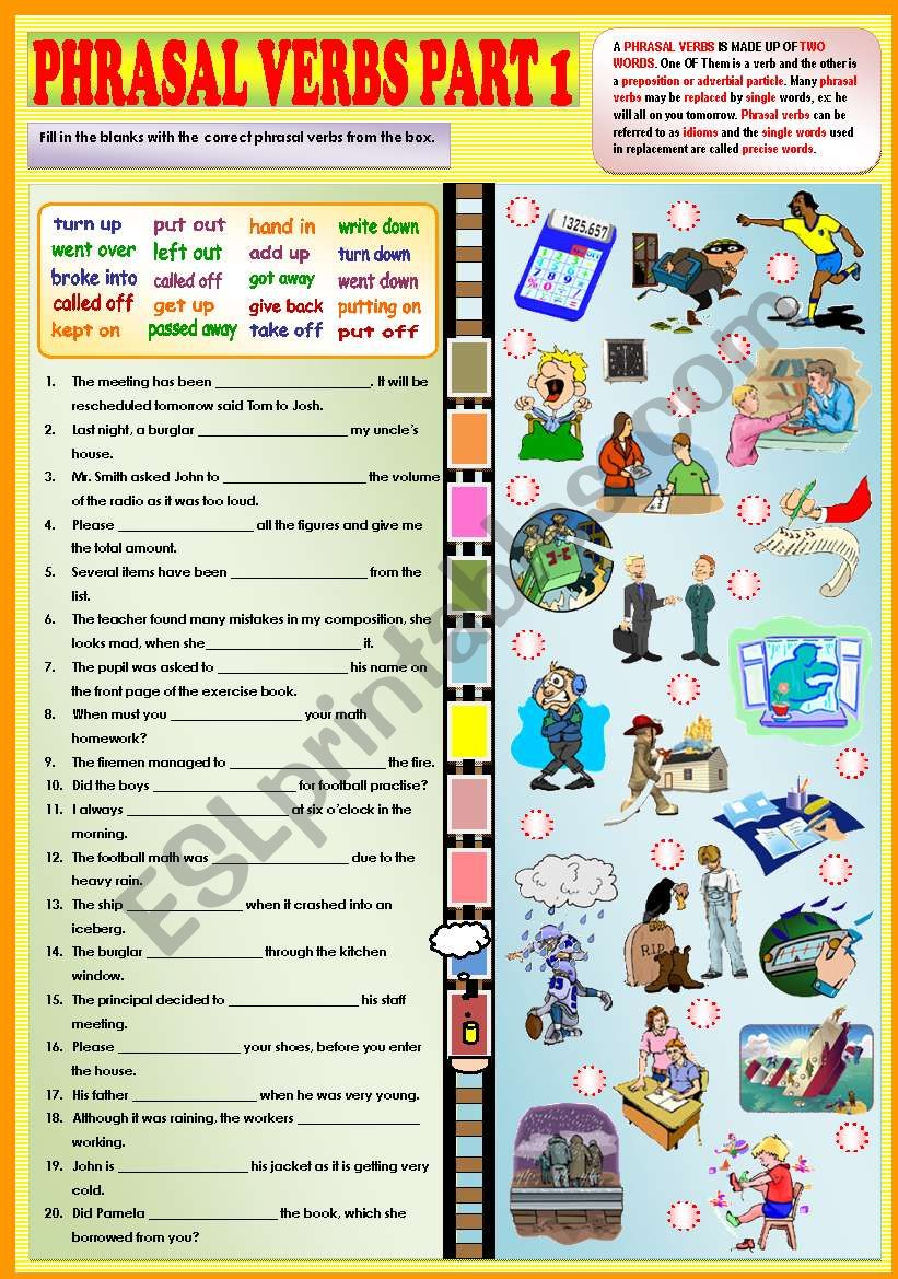 Phrasal verbs part 1 + KEY worksheet