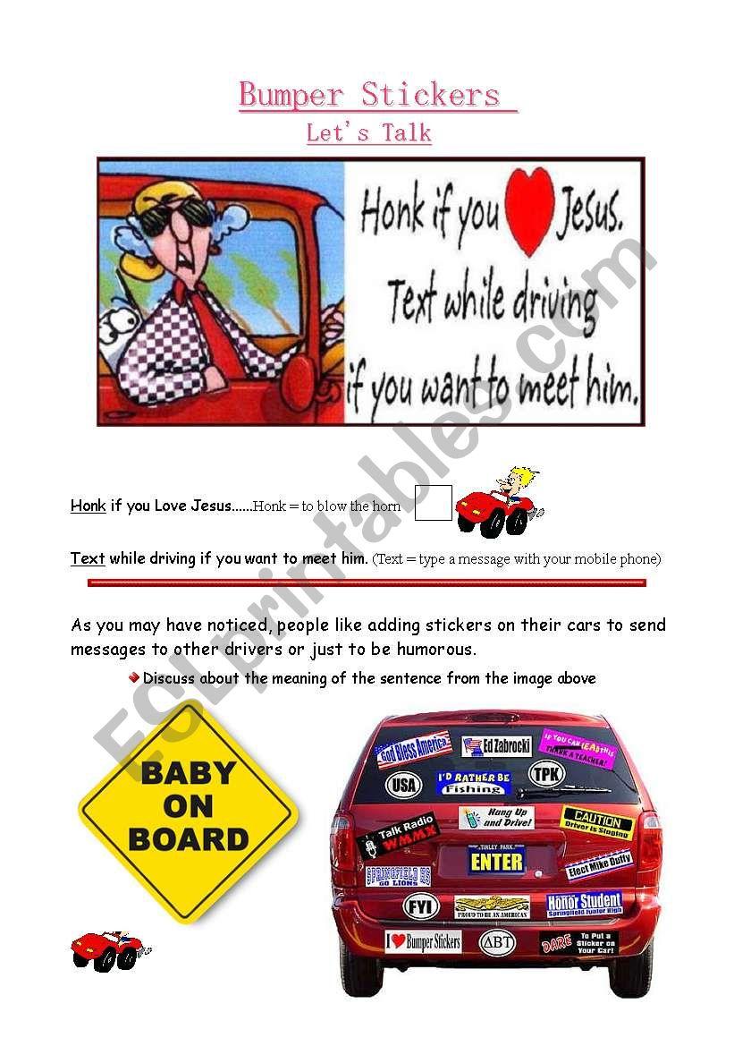 Let´s Talk - Bumper Stickers worksheet