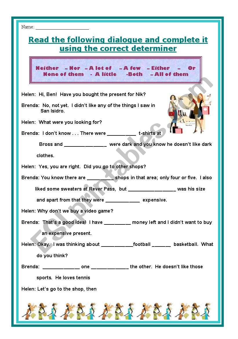 Neither Nor Either Or Afew A Little Both Esl Worksheet By Gladebi