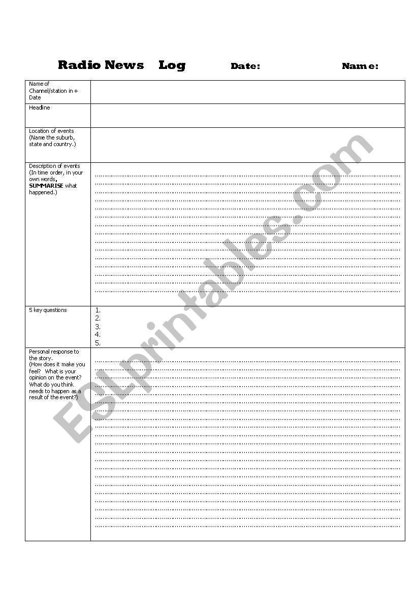 Radio Reading Log worksheet