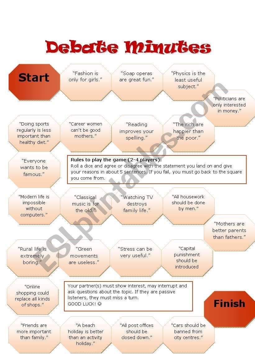 Debate Minutes - Boardgame worksheet