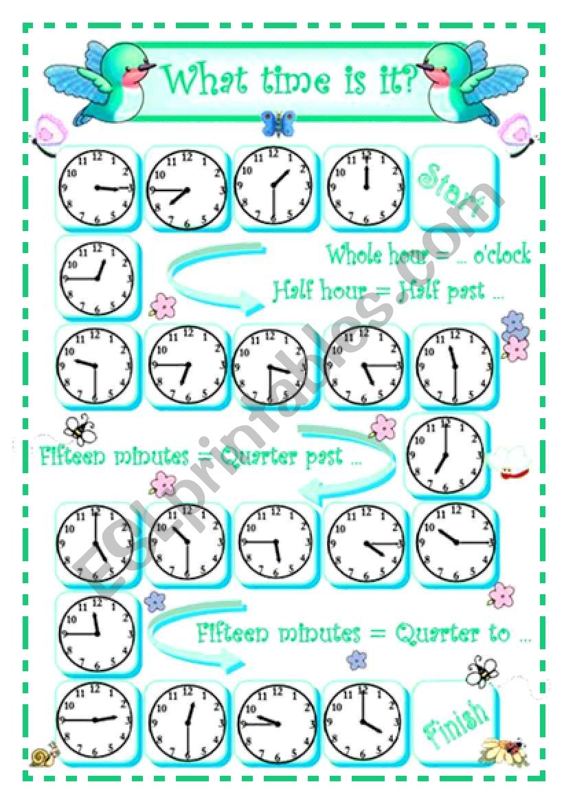 What time is it? - 2 - Quater to/past + whole/half hour - oral practice