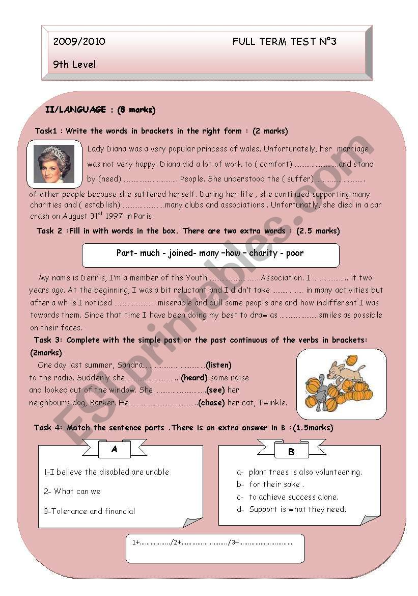 full term test n°3 for 9th form tunisian pupils (part 2)