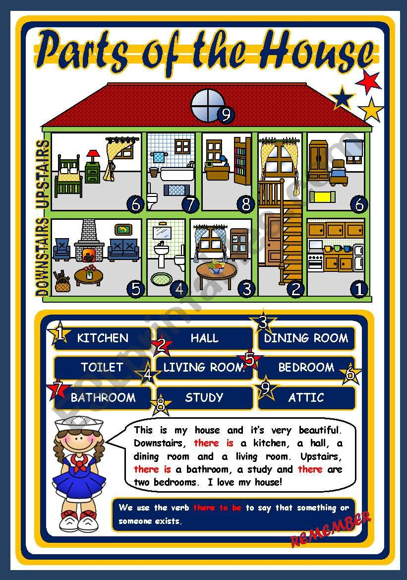PARTS OF THE HOUSE - POSTER worksheet