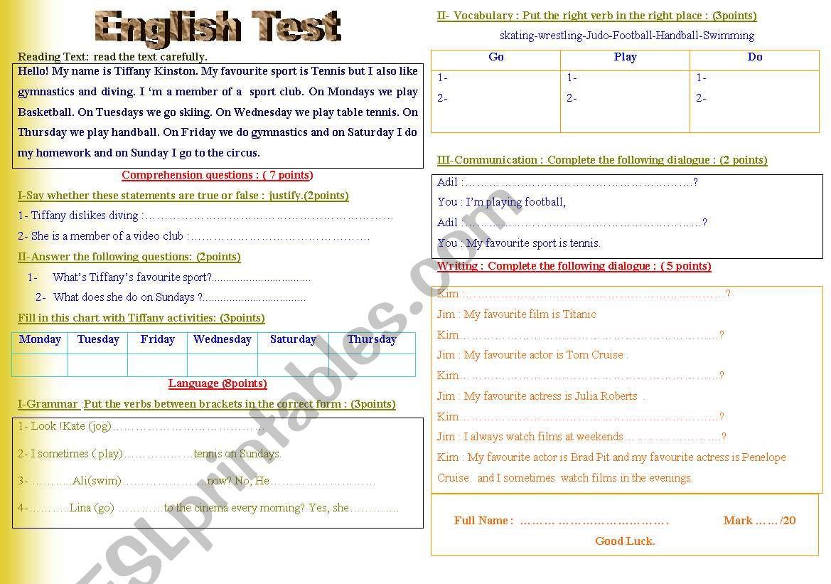 English Test ( unit Sports + Entertainment)