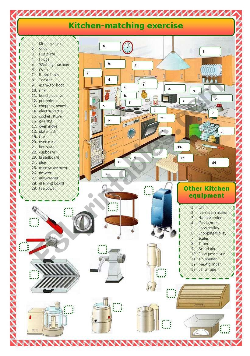 Kitchen-matching activity worksheet