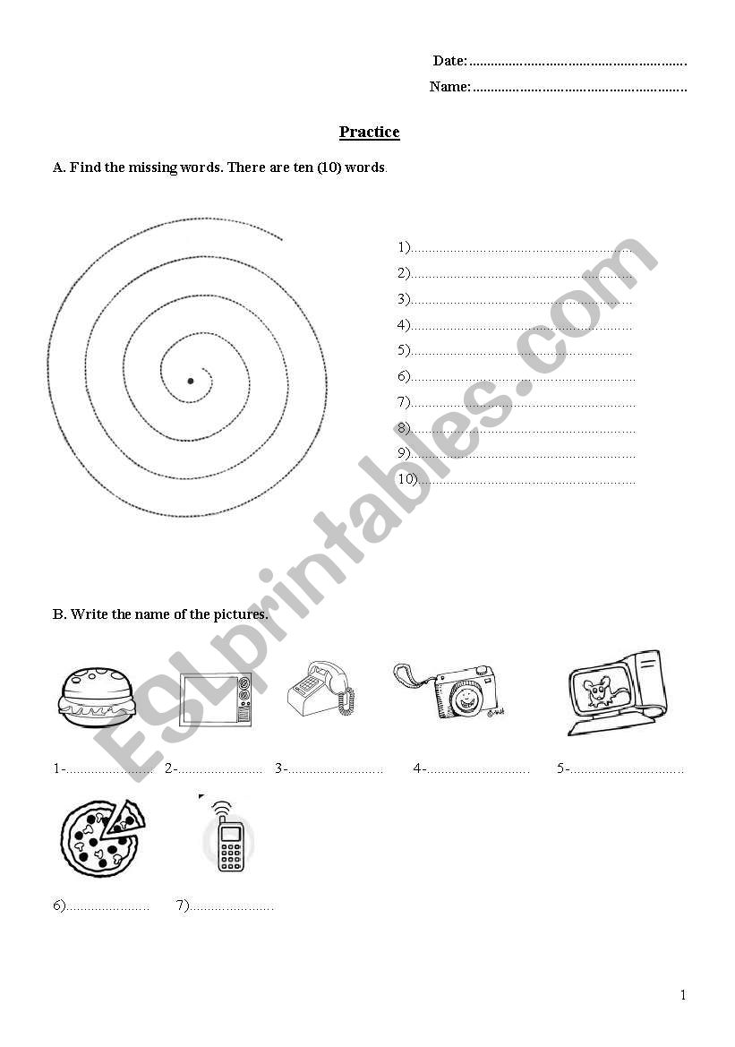 everyday objects worksheet
