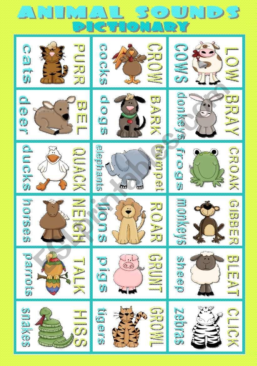 ANIMAL SOUNDS - Pictionary worksheet