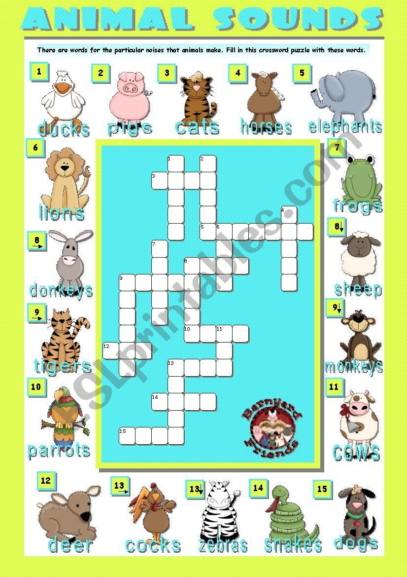 animal sounds crosswords esl worksheet by teresaraiva. Black Bedroom Furniture Sets. Home Design Ideas