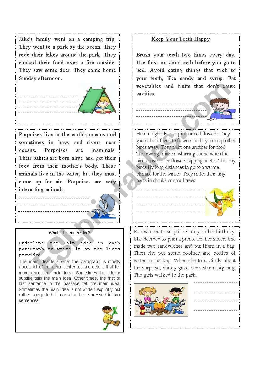 Extracting the main idea worksheet