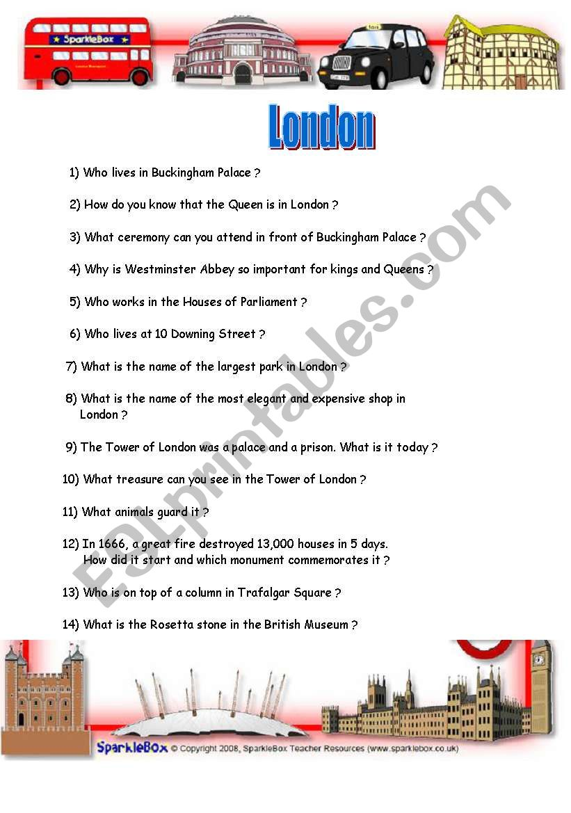 English Worksheets How Much Do You Know About London Fully