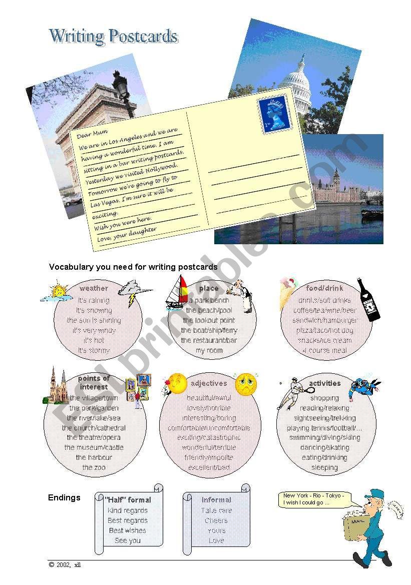 Writing Postcards worksheet