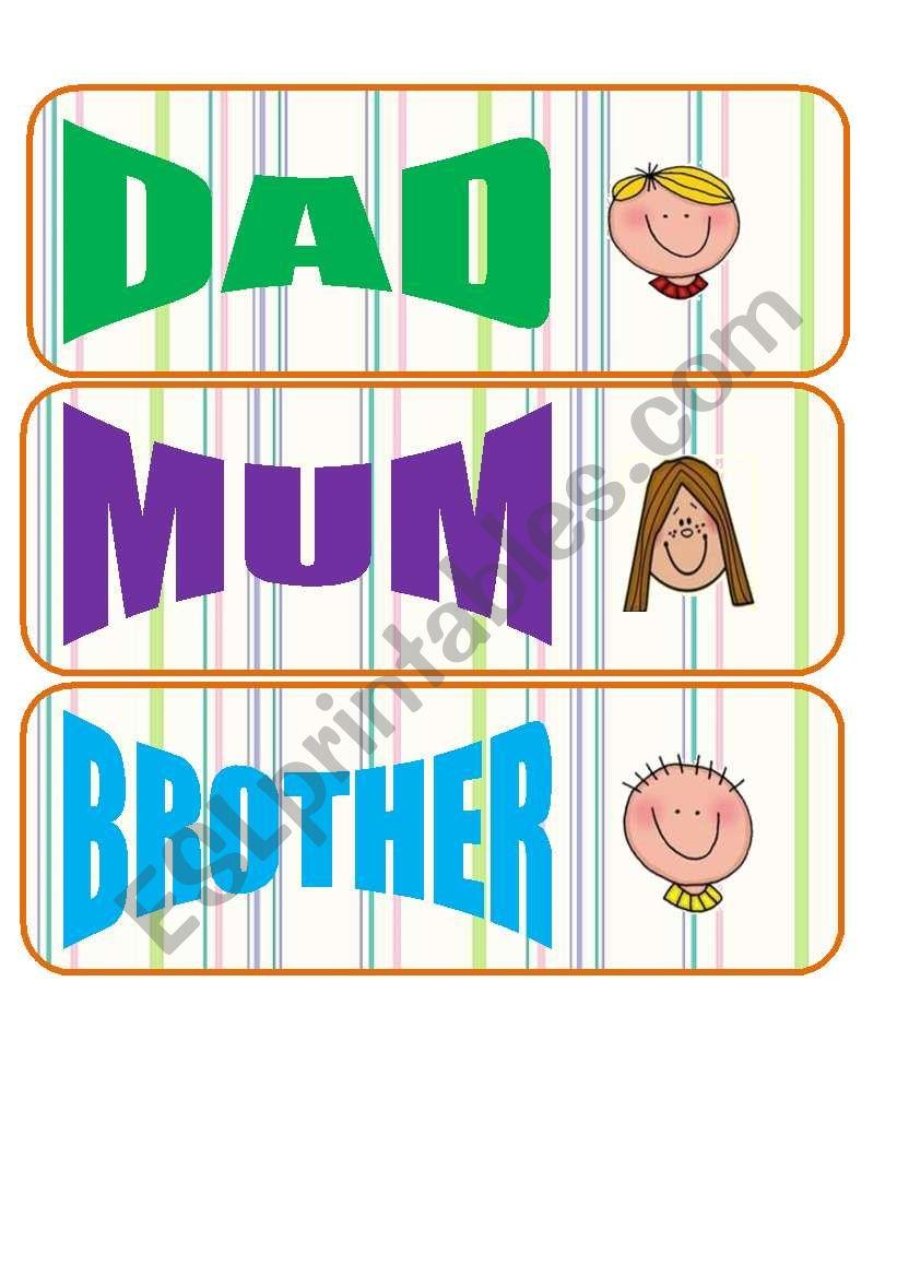 family flashcards worksheet