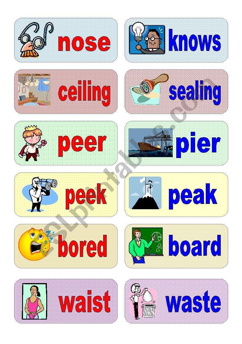 homophones - activity cards (set 3)
