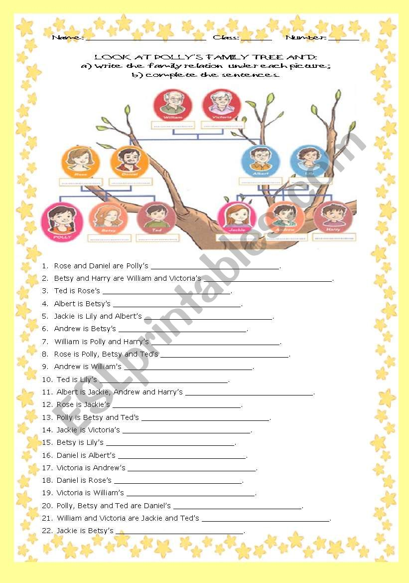 FAMILY TREE -  22 SENTENCES (with answer key)