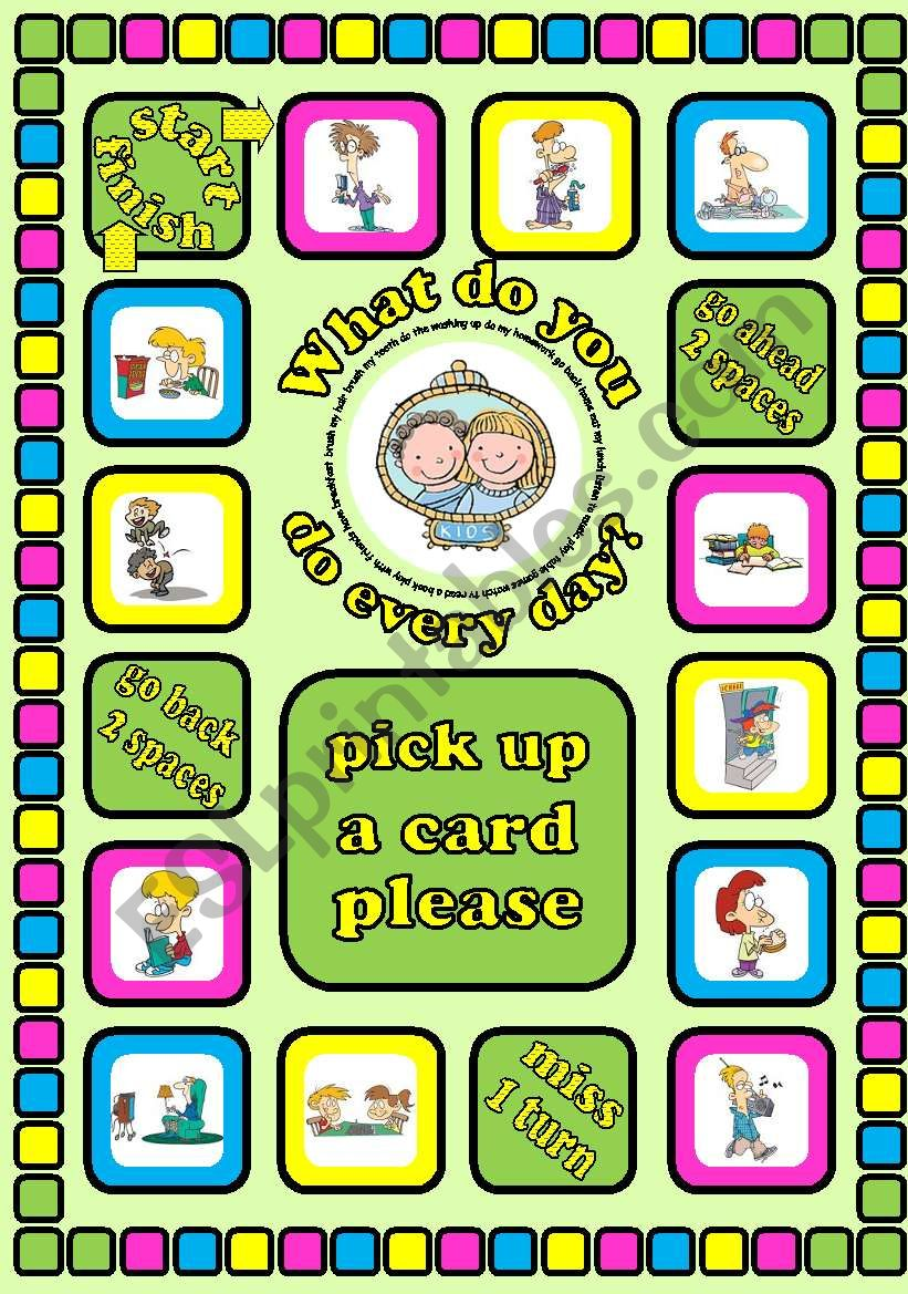 What do you do every day?. Daily routines board game + cards + instructions. Fully editable.