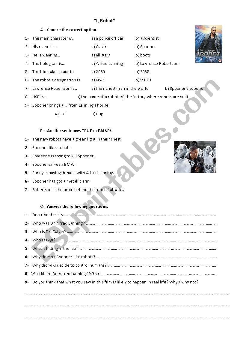 I, Robot worksheet