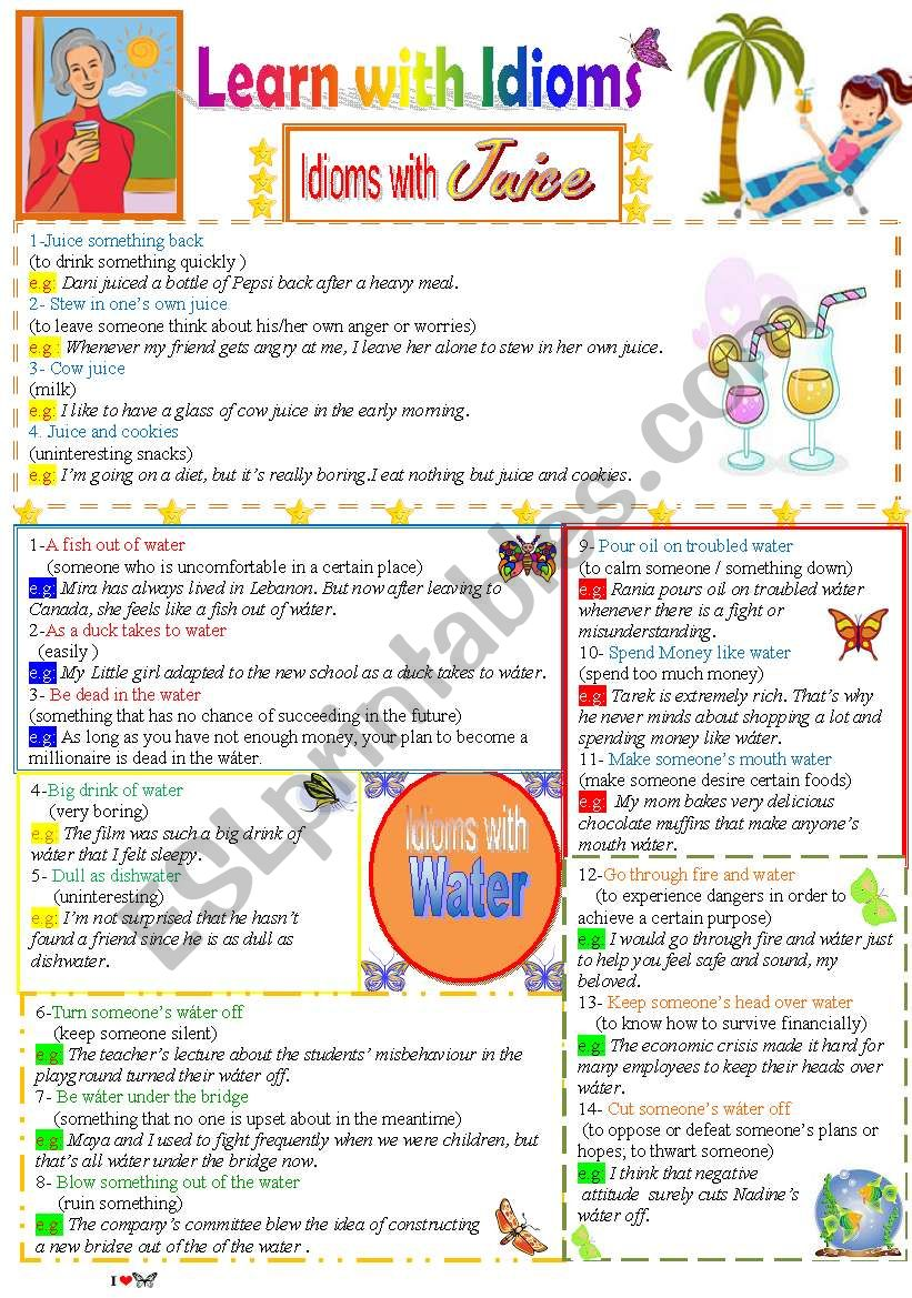 Learn with Idioms ( Part 12 ) worksheet