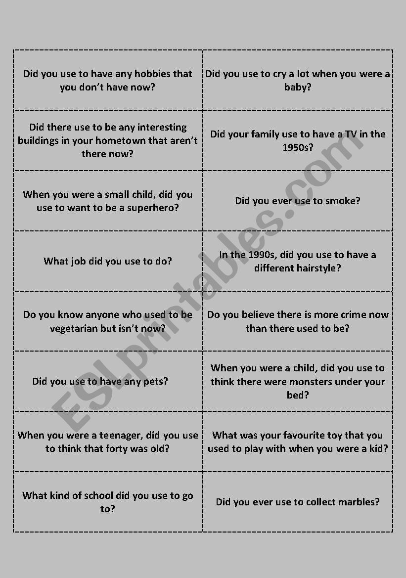 ´Used to´ conversation questions - teen/adult