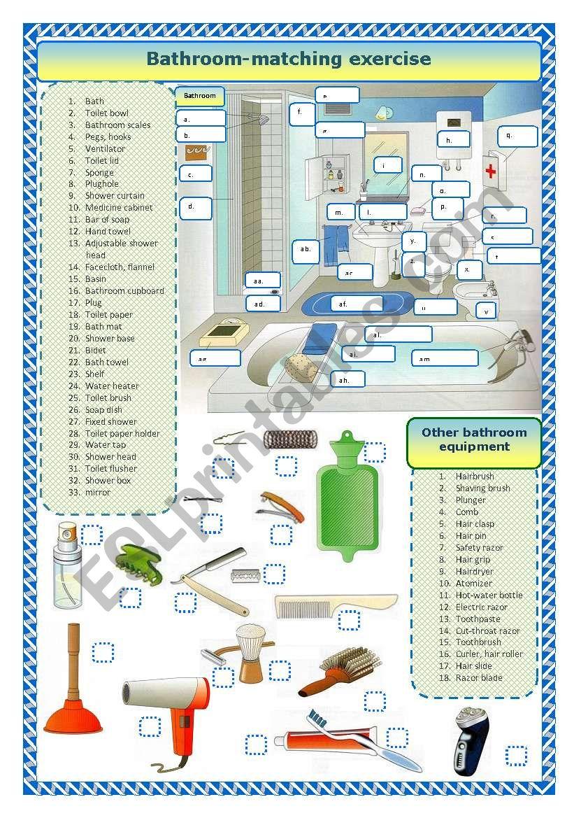 Bathroom - matching exercise  worksheet