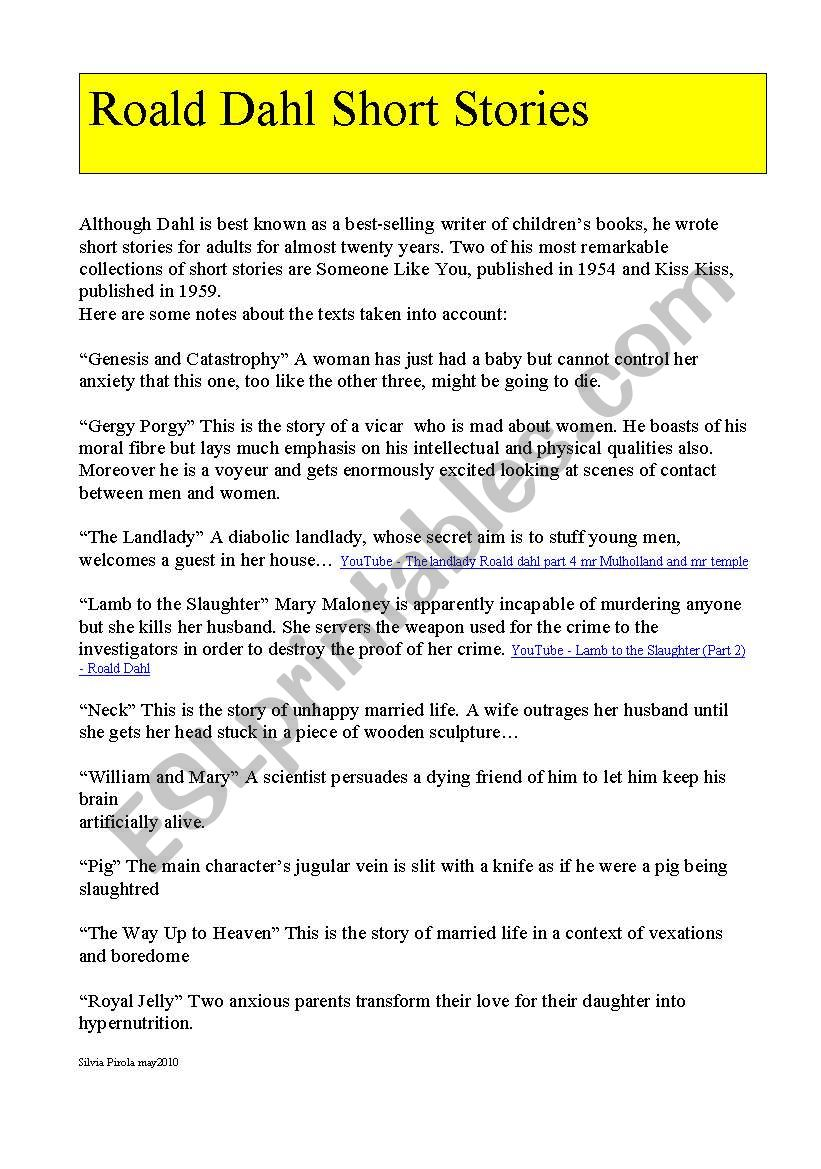 Roald Dahl Short Stories worksheet