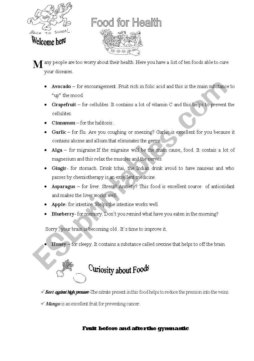 Food for Health worksheet