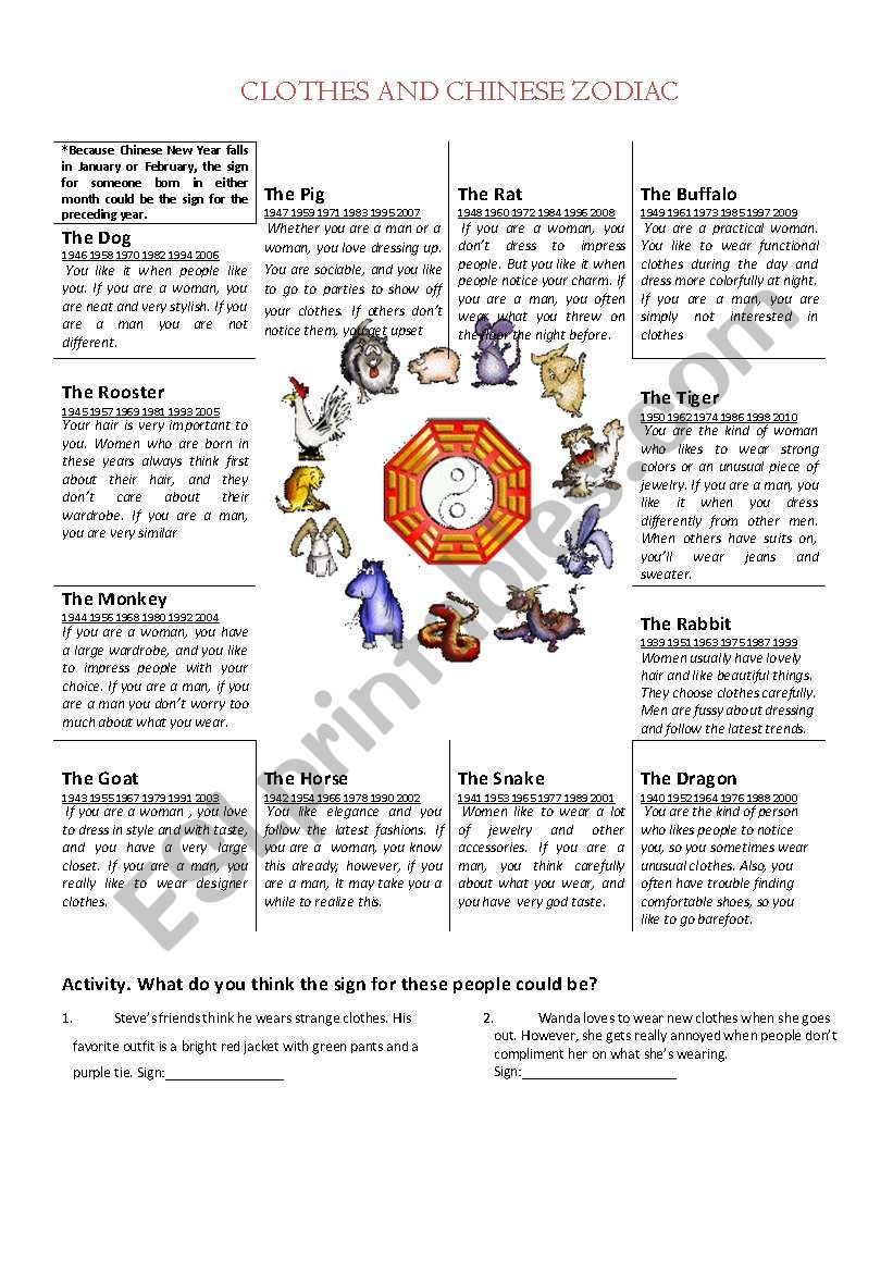 Clothes and Chinese Horoscope - ESL worksheet by mario89