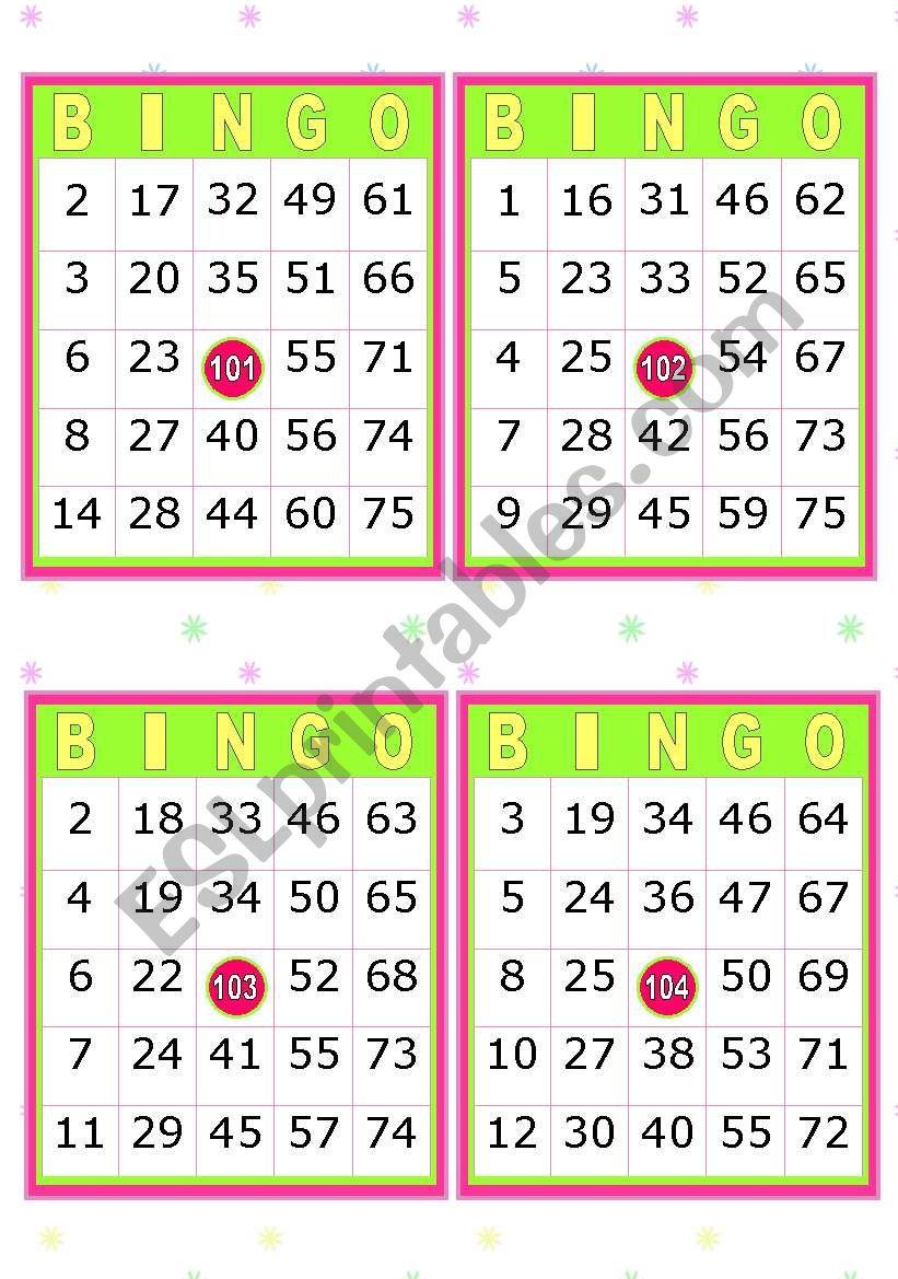 28 BINGO CARDS  (American  Bingo)