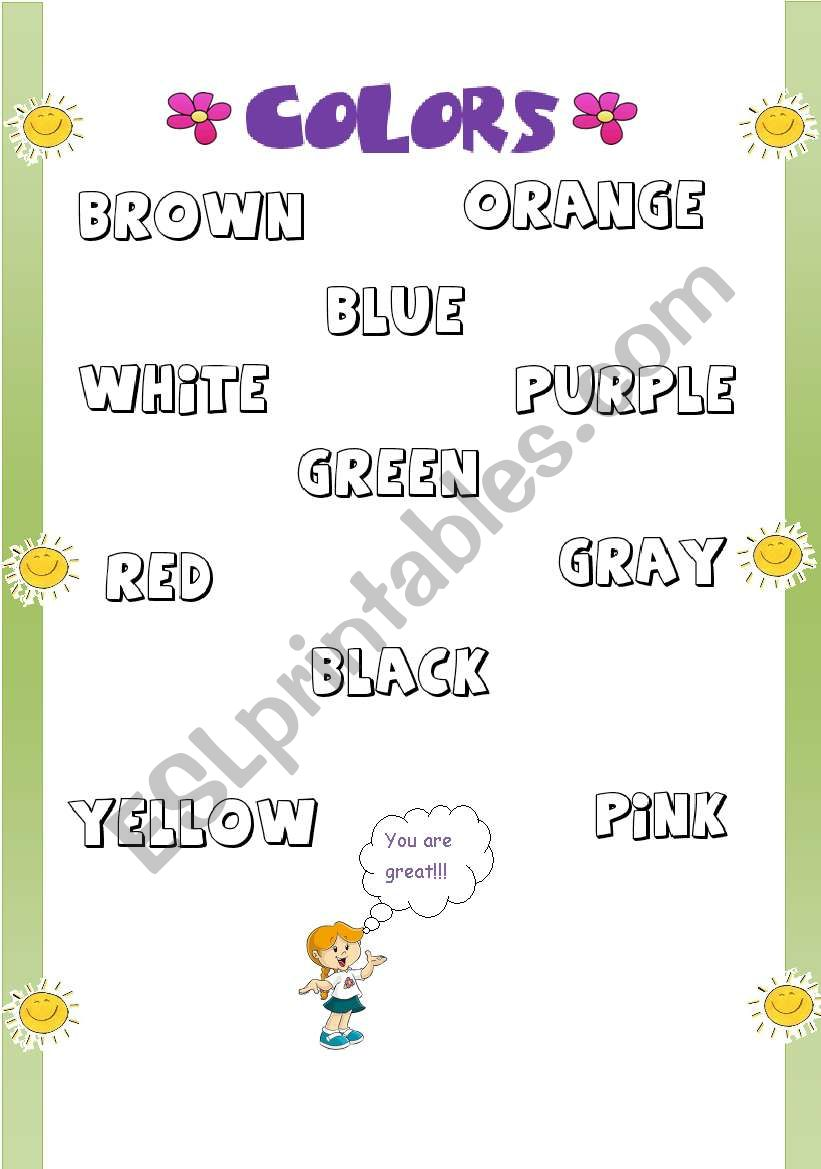 Coloring The Colours Names Esl Worksheet By Arleane