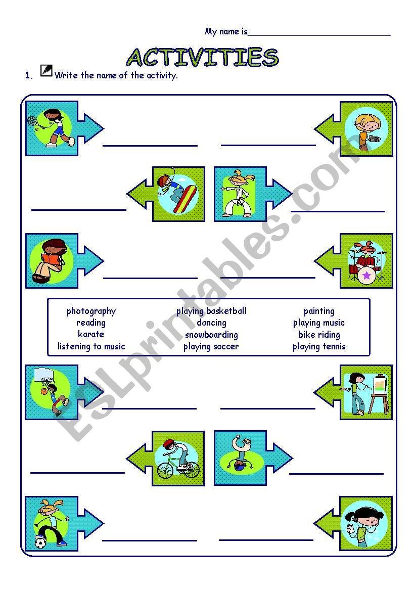 Activities (Sports & Hobbies) worksheet