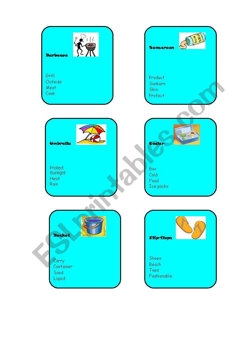 summer holiday taboo cards part 2