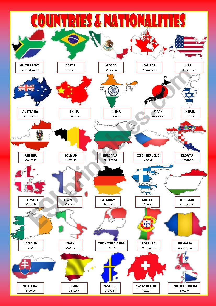 COUNTRIES & NATIONALITIES worksheet