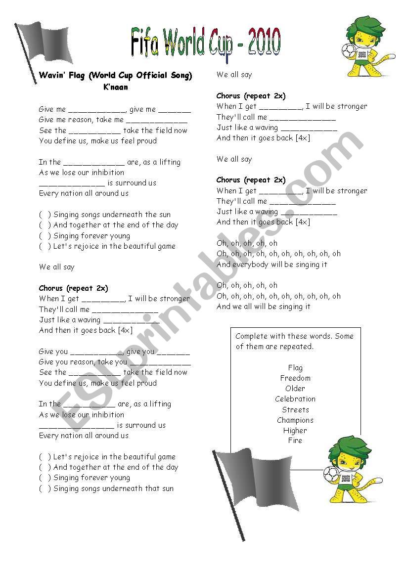 World Cup Song worksheet