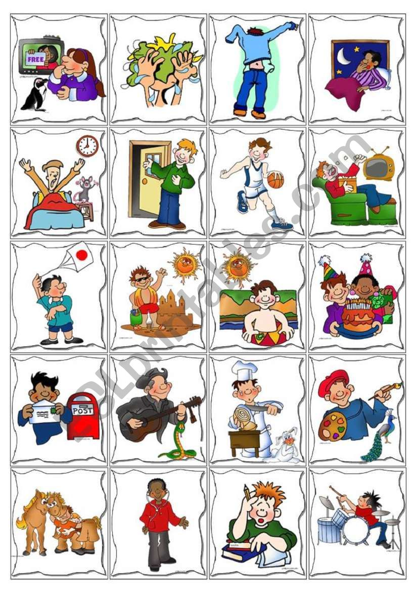 Daily Routine Cards Game worksheet